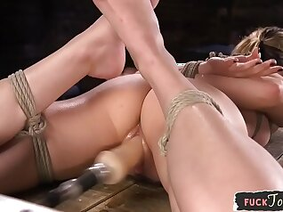 Babe Gets Head On Her Ass When Using And Fucking with BDSM Machine