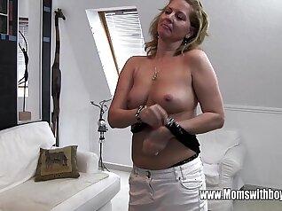 Brunette Mature Masturbating with a Glass Dildo