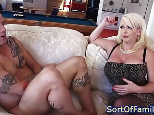 Amateur busty stepmom in front of young girl