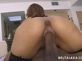 Adorable Japanese whore gets anal fucked on eggplant