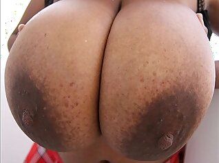 Busty babe doggystyling one of her boobs