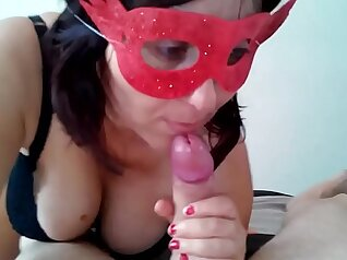 ASMR Public Extreme trousers step mom giving blowjob turns cum