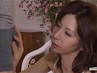 Amazingly beautiful MILF in lingerie gives blowjob and rides on cock for cum