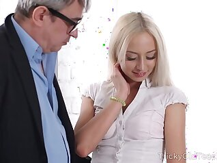 Busty blonde tickled dry soaking lubed pussy bounces with teacher