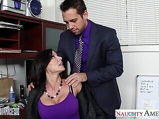 Appetizing brunette with perky tits sucks dick at the office