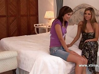 Young lesbian Megan teases before fucking