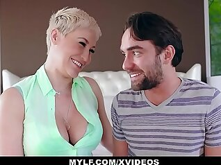 busty stepmom covered until her knees are rocked by dick