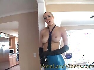Cute Blonde Babe With Perfect Ass In Latex