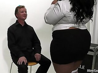 BBW Spanks Ebony Huge Boobs