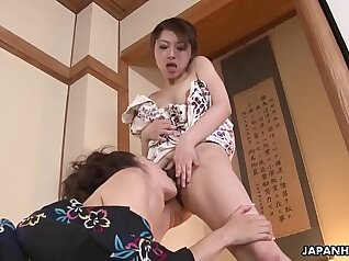 Buxom Asian slut gives her pussy a nice lesbo ride
