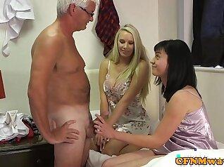 Amazing femdom babes make him cum
