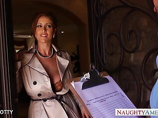 Busty Milf sucks cock with a strap on