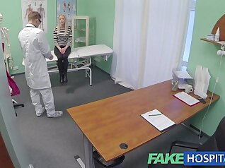 blonde nurse with large tits exposes her skin