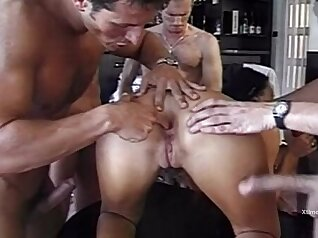 Caty orders group of her friends to fuck her slutty pussy