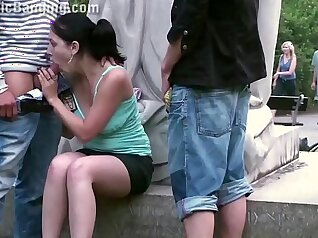 Crazy hot public gang bang and slutty young lady threesome