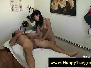 Asian masseuse sucks big thick cock while massages big cock