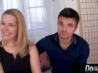 Sexy blonde wife gives a great glance to husband