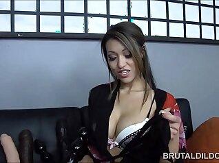 Cute petite Asian girl masturbates using dildo on her pussy