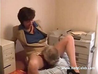 Mature lady loves to partner organ lotion at office
