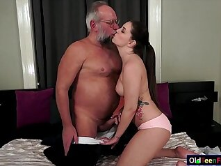Agressive grandpas flick cock and climax hard